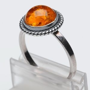 Amber Silver Ring - size 9